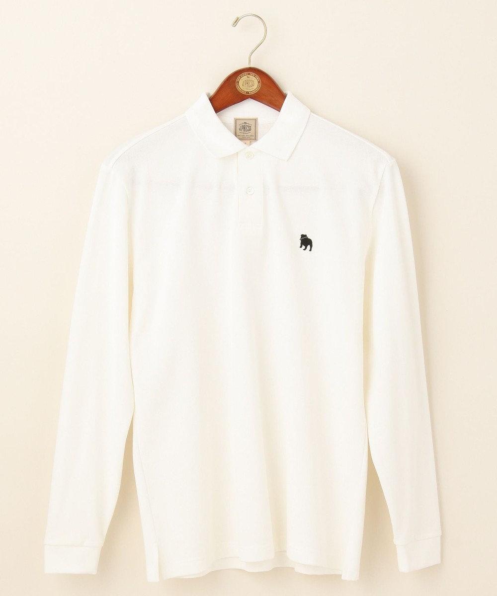 J.PRESS MEN アメリカンコットンカノコ ブルドック長袖ポロシャツ ホワイト系