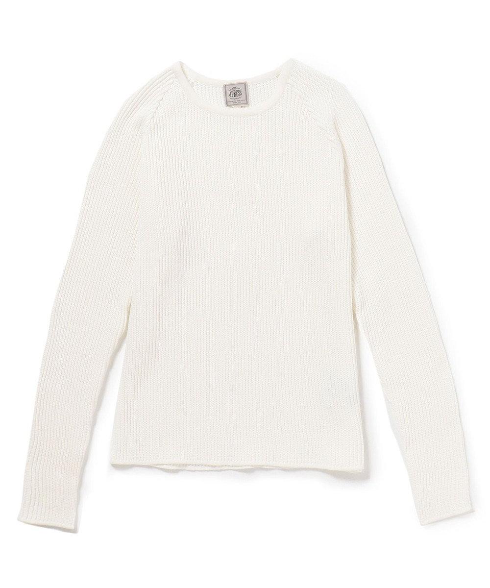 J.PRESS MEN クルーネック ロングニット Tシャツ ホワイト系