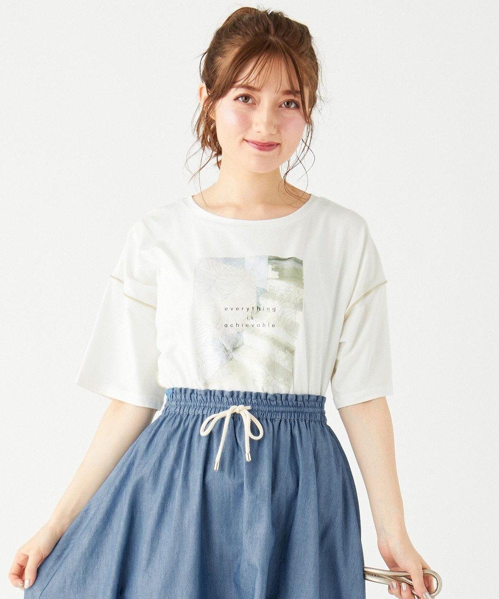 Feroux 【洗える】フォト Tシャツ アイボリー系