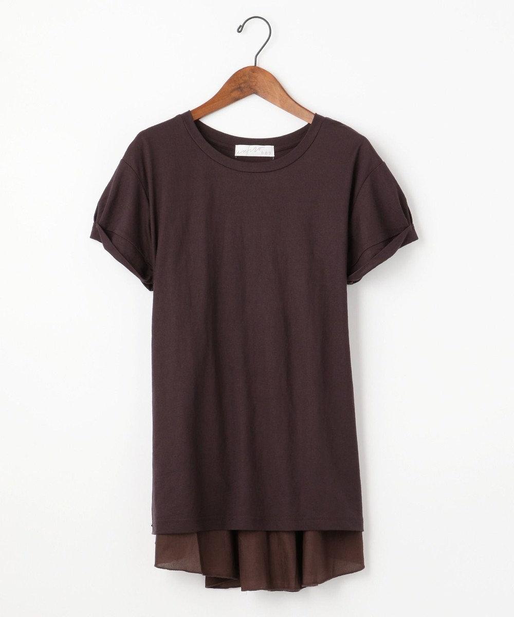 自由区 【Unfilo】KANOKO BLEND 異素材コンビ カットソー ダークブラウン系
