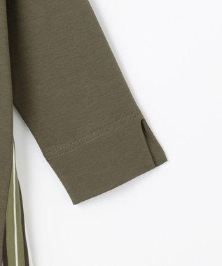 自由区 【Unfilo】コットンスムース 異素材コンビ カットソー カーキ系