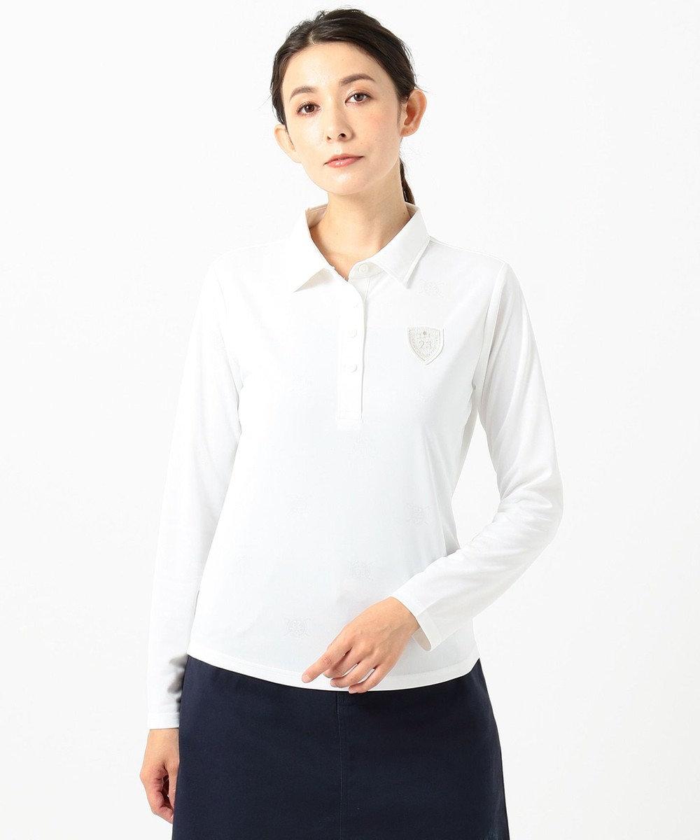 23区GOLF 【WOMEN】【吸汗速乾/UV】ワッペンモチーフ ジャガードシャツ ホワイト系