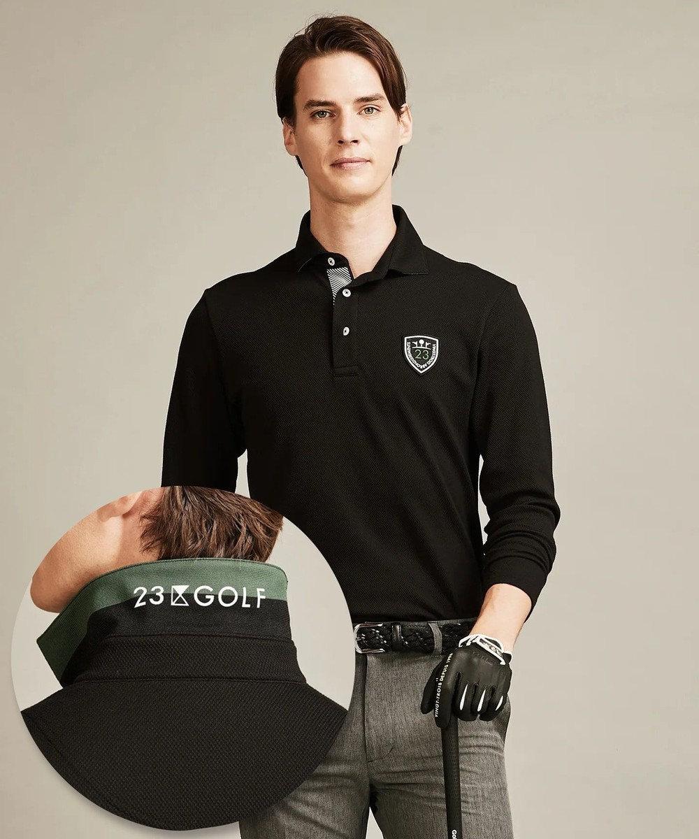 23区GOLF 【MEN】【吸汗速乾/UV/日本製】ハニカムカノコ シャツ ブラック系