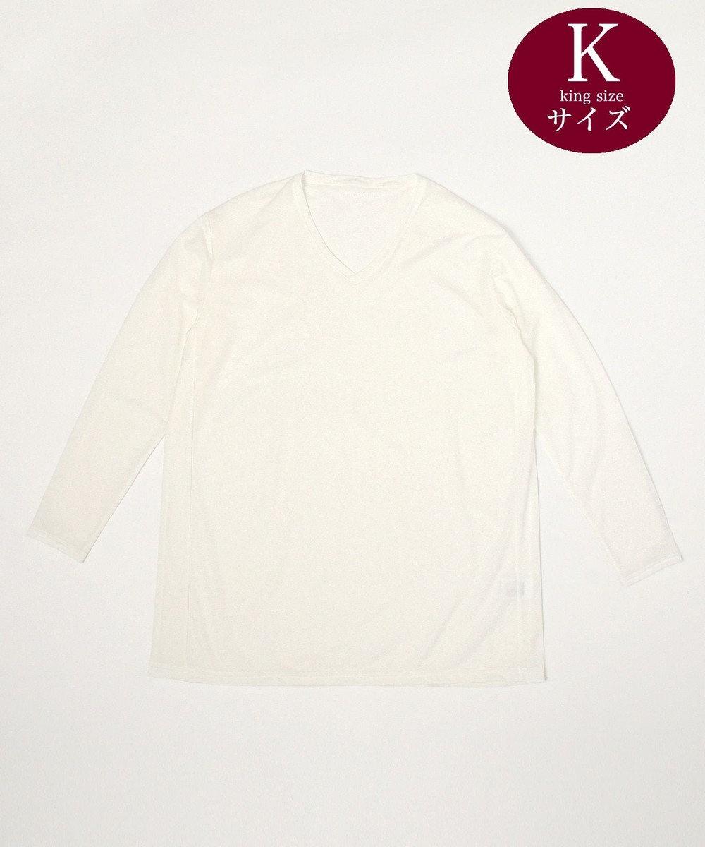 23区GOLF 【キングサイズ】【吸水速乾 / UVケア】30dインナーカノコVネック インナー ホワイト系
