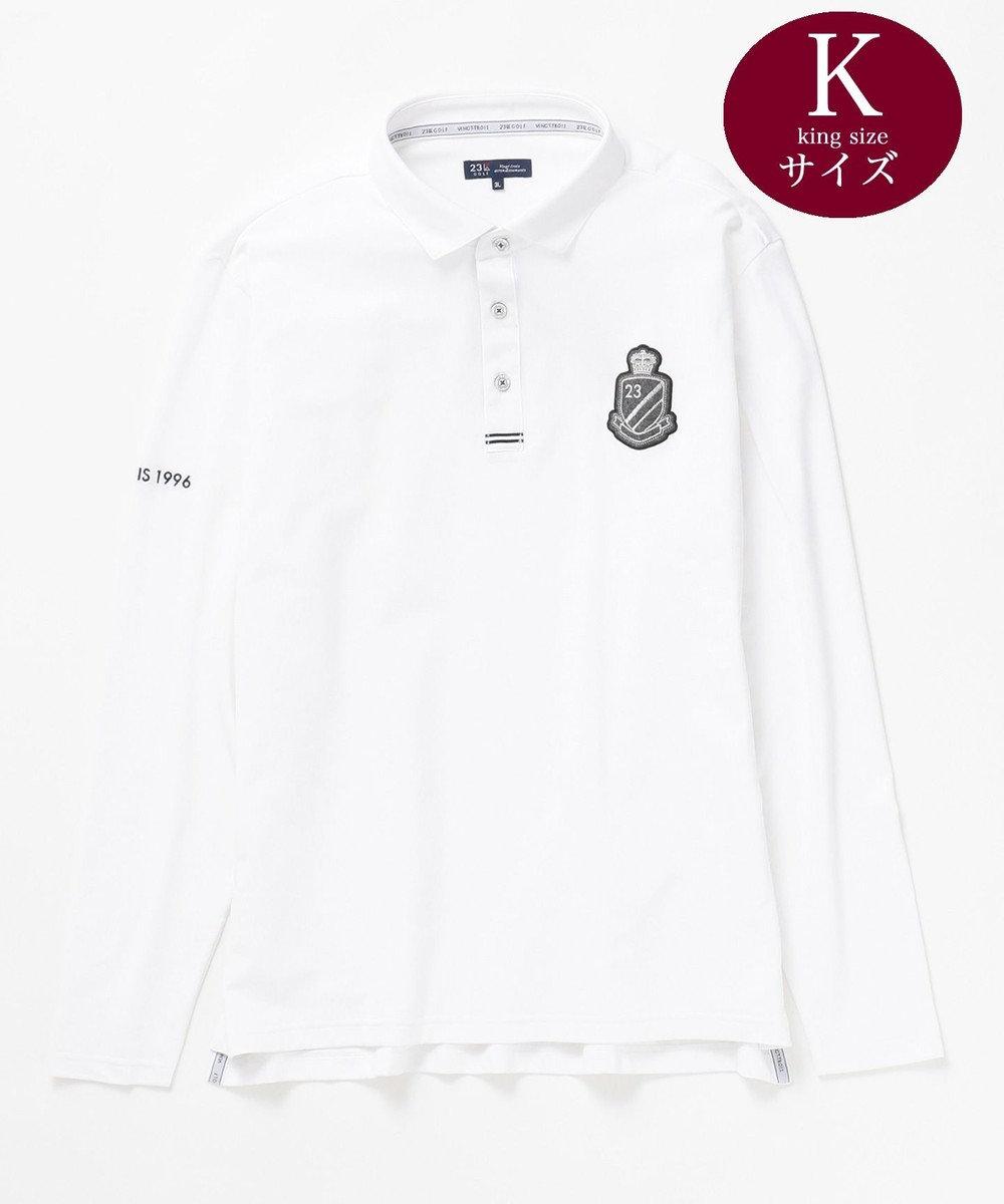 23区GOLF 【キングサイズ】吸水速乾 UVケア ソフトベア鹿子 カットソー ホワイト系