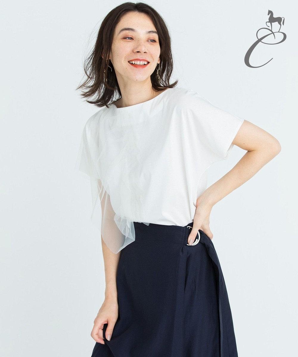 自由区 【Class Lounge】TECHNO RAMA チュールデザインTシャツ ホワイト系