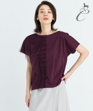 自由区 【Class Lounge】TECHNO RAMA チュールデザインTシャツ ダークブラウン系