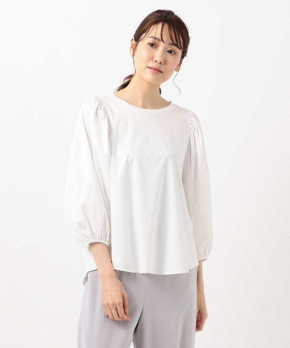 自由区 【Class Lounge】TECHNO RAMA ボリューム スリーブ Tシャツ ホワイト系