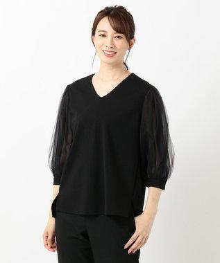 自由区 【Class Lounge】SHINY チュール袖カットソー ブラック系