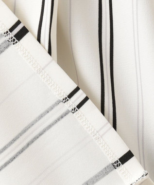 組曲 L 【Lサイズ限定】トリアセジョーゼット ストライプカットソー ホワイト系1