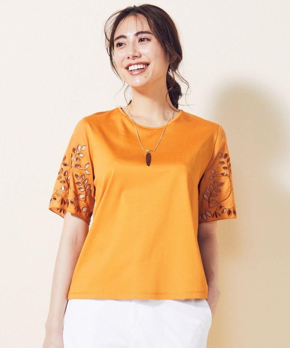 自由区 【マガジン掲載】エンブロイダリーコットン カットソー(検索番号H37) オレンジ
