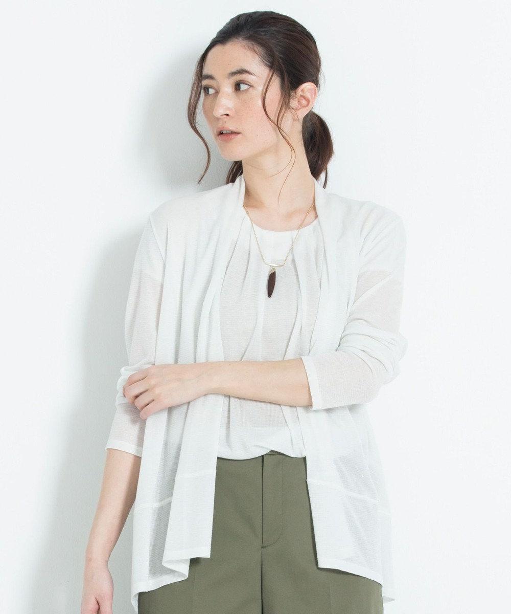 自由区 【新色追加】ラメパルサー ミドル丈カーディガン(検索番号H47) ホワイト
