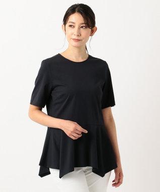 23区 【洗える】ソフトコットンジャージー ペプラム カットソー ネイビー系