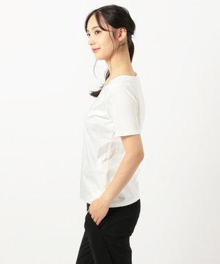 23区 L 【洗える】DOUBLE SMOOTH スクエア Tシャツ ホワイト系