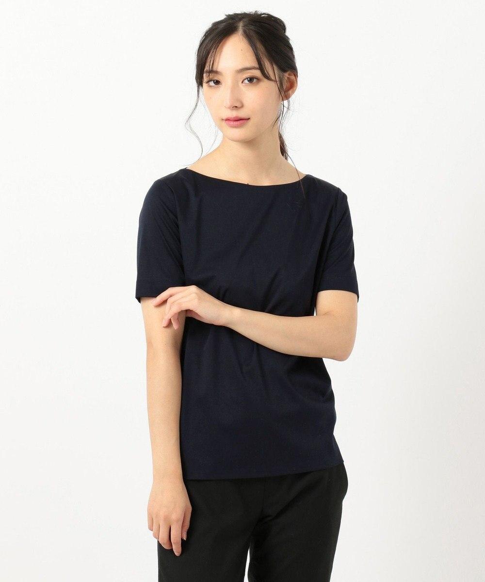 23区 【洗える】DOUBLE SMOOTH ボートネック Tシャツ ネイビー系