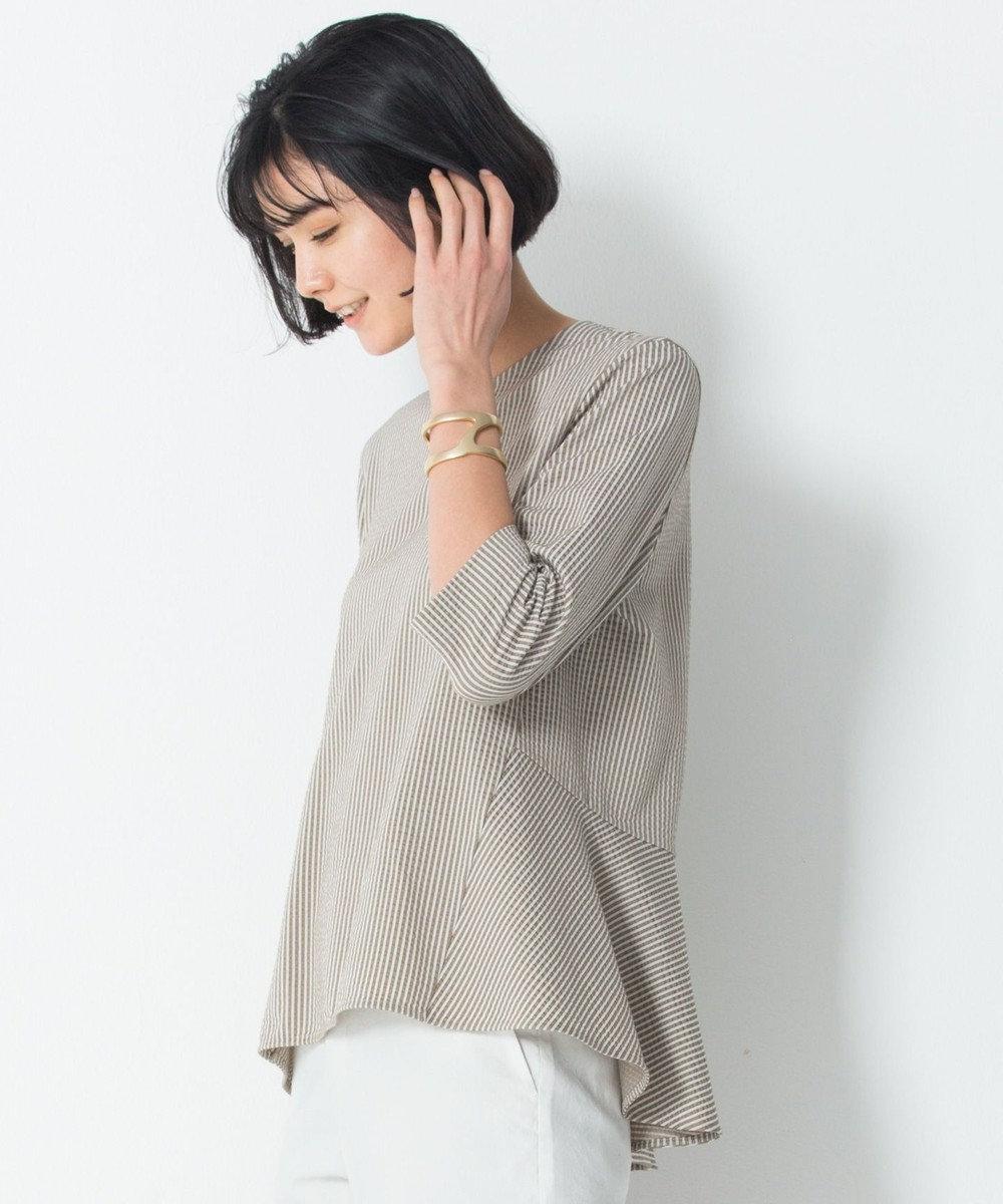 23区 S 【洗える】シアサッカー ストライプ カットソー カーキ系1