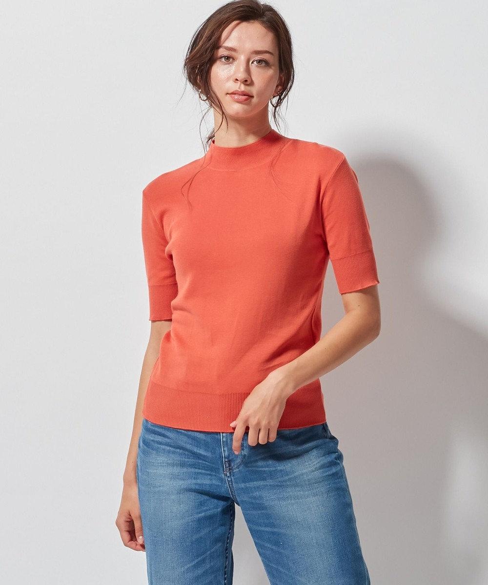 23区 S 【洗える】ALBINIセーターマシーン 半袖ニット オレンジ系