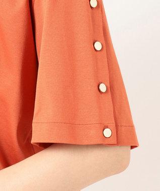 23区 L 【洗える】コットンクリアジャージー ボタンスリーブ カットソー オレンジ系