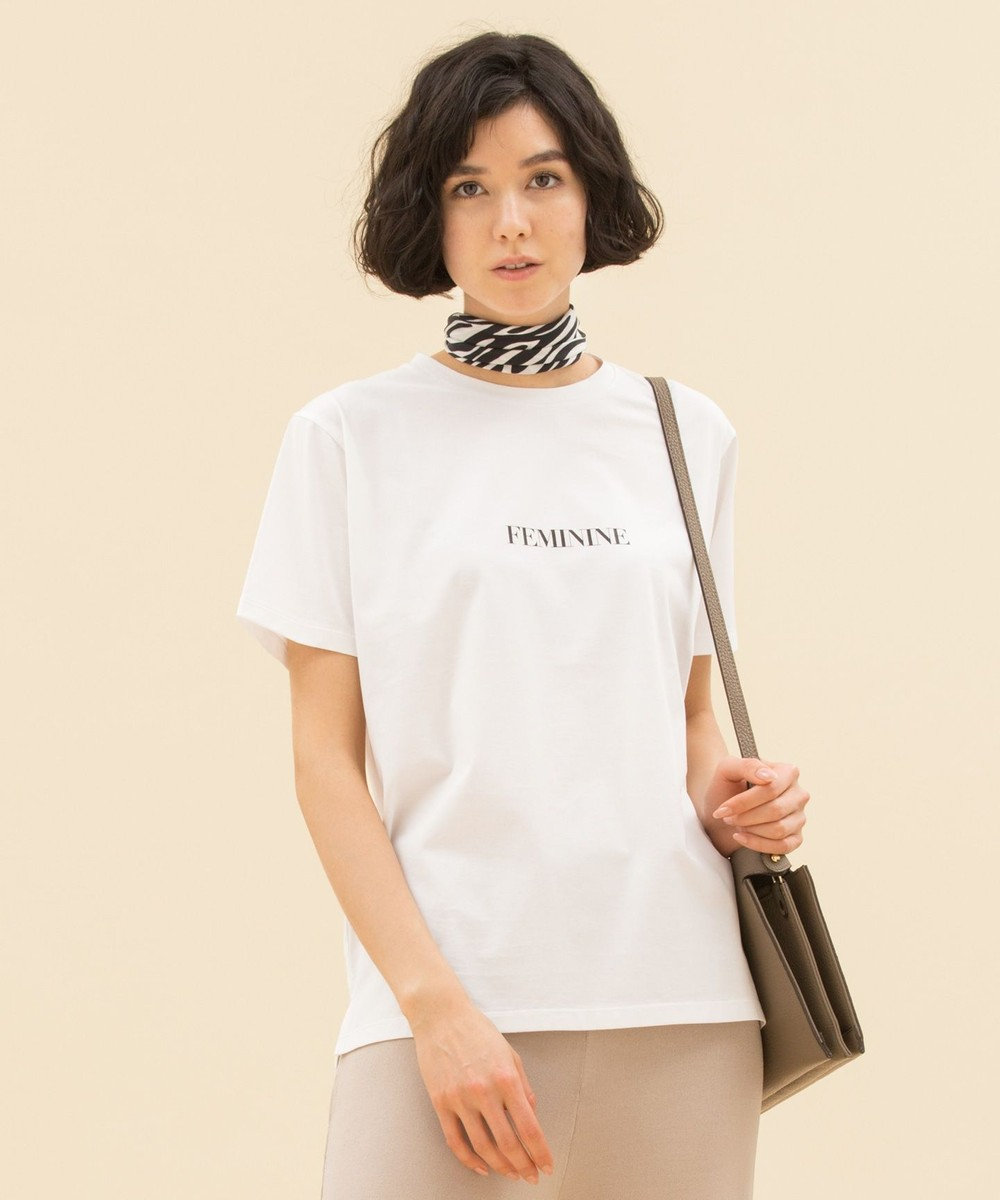23区 S 【洗える】MONOTONE LOGO PRINT Tシャツ ホワイト系
