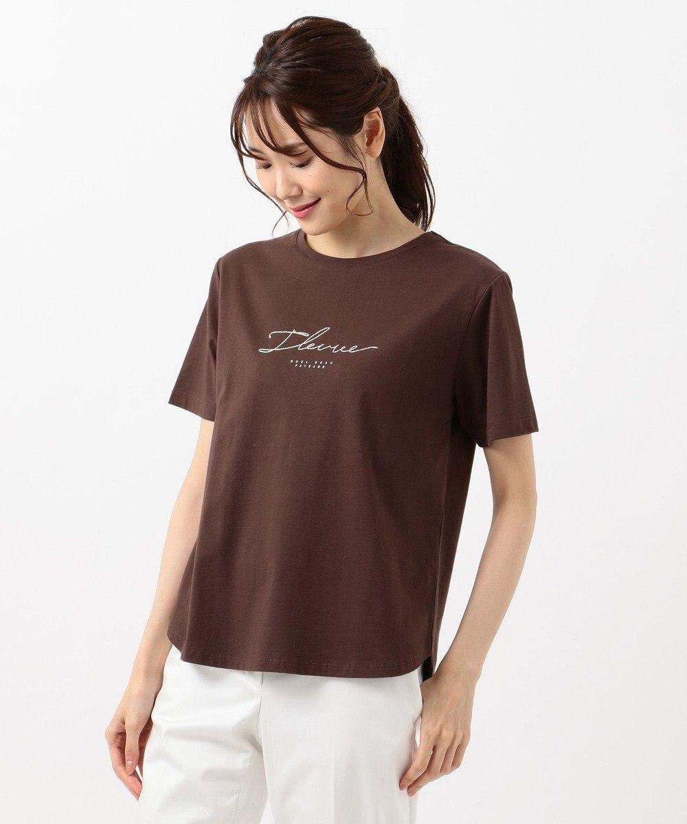 any SiS S コード刺繍ロゴ Tシャツ ダークブラウン