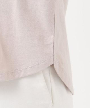 any SiS S コード刺繍ロゴ Tシャツ ローズグレー