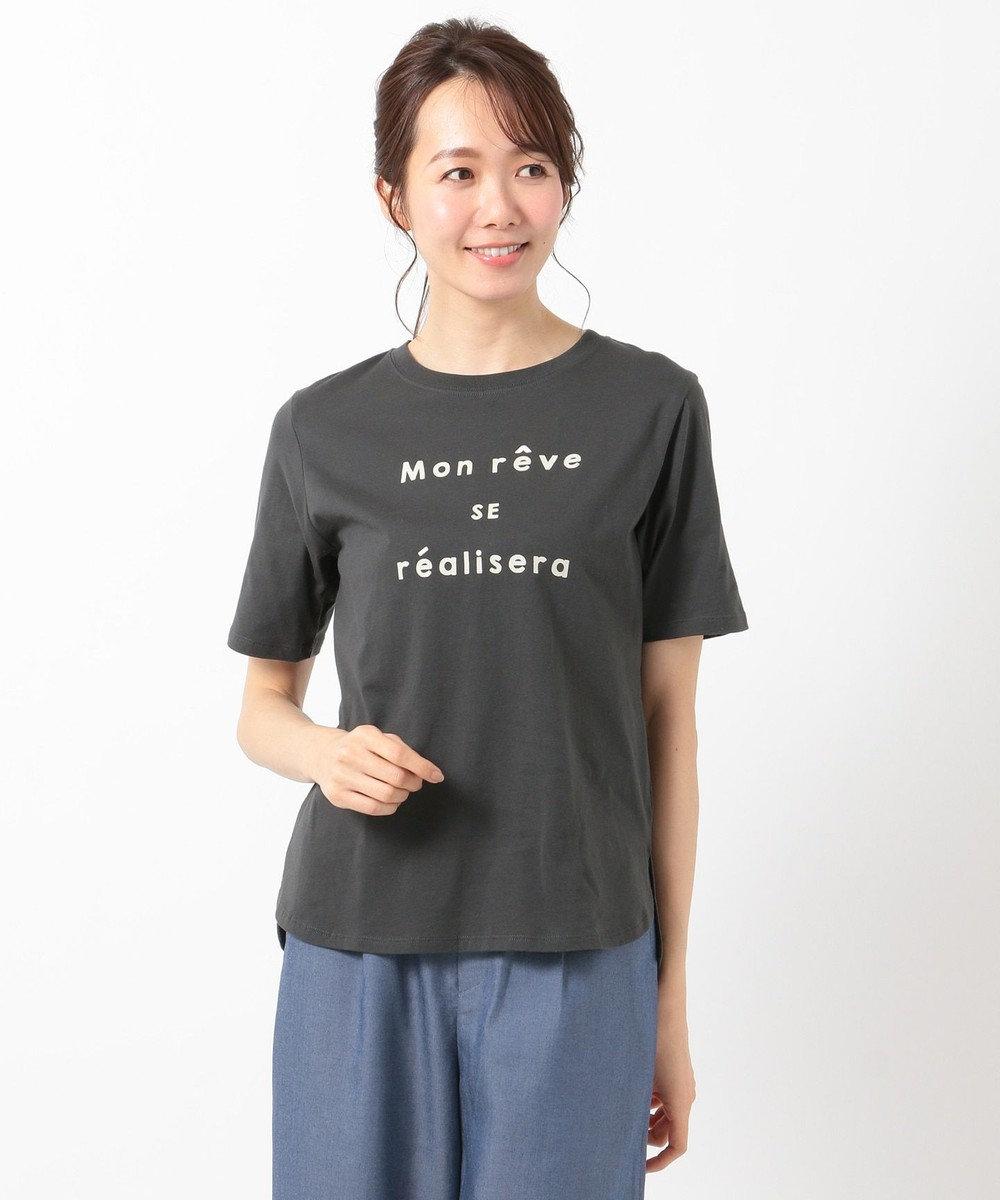 any SiS S ロゴプリント Tシャツ チャコールグレー×アイボリー