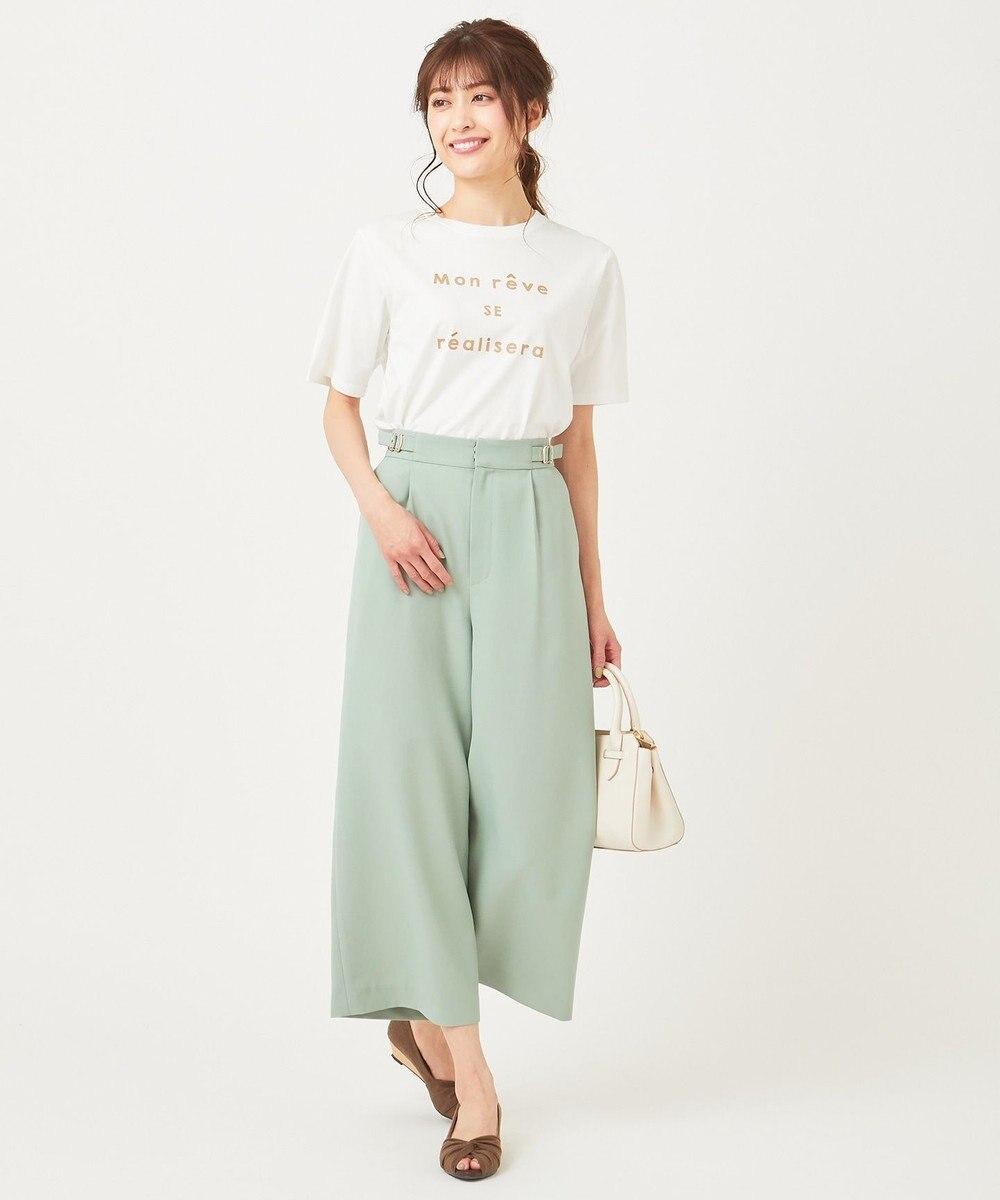 any SiS S ロゴプリント Tシャツ オフホワイト×モカ