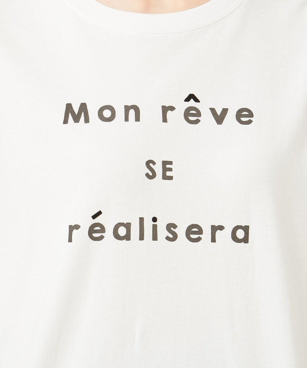 any SiS S ロゴプリント Tシャツ オフホワイト×ブラック