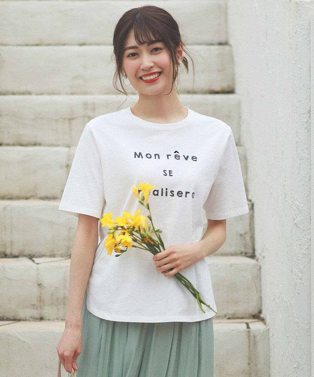 any SiS ロゴプリント Tシャツ オフホワイト×ブラック