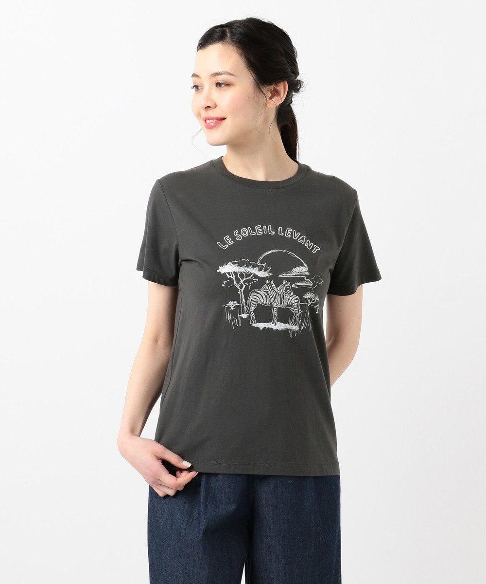 any SiS L 【L'aube】サファリロゴ Tシャツ チャコール