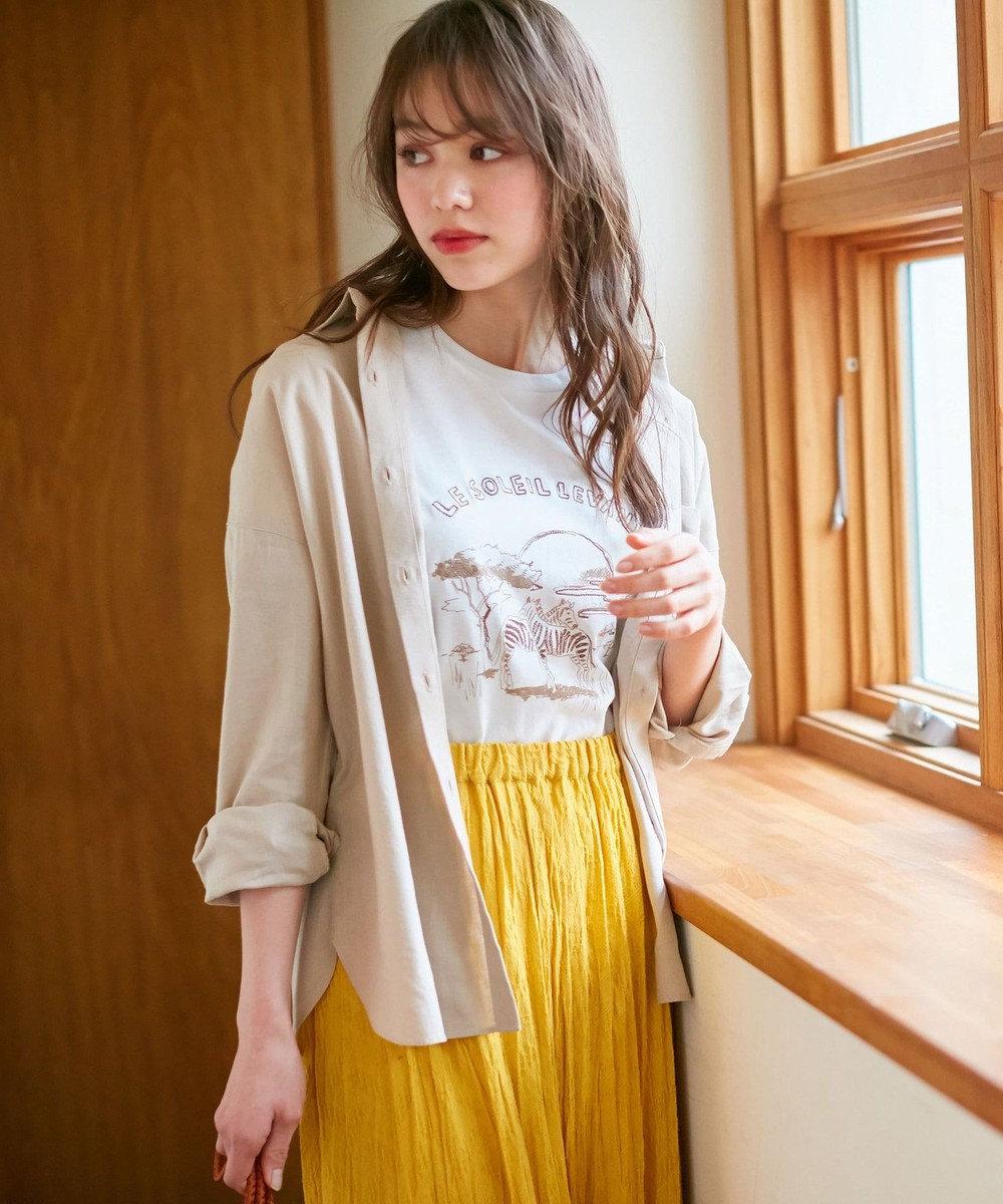 any SiS 【L'aube】サファリロゴ Tシャツ オフホワイト
