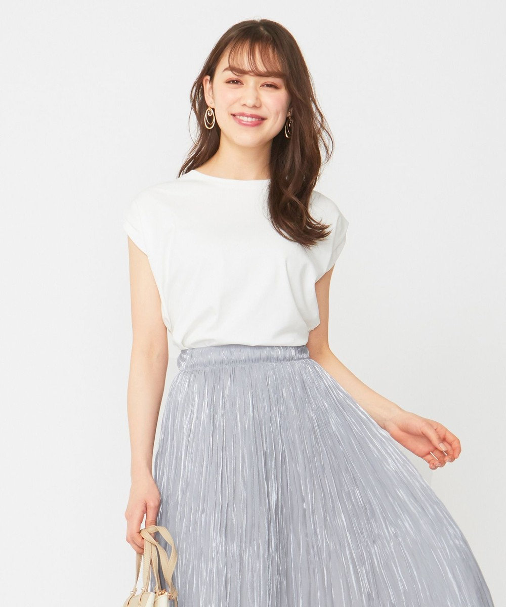 any SiS L 【Ray6月号掲載】Rich cottonスムース フレンチスリーブ Tシャツ オフホワイト