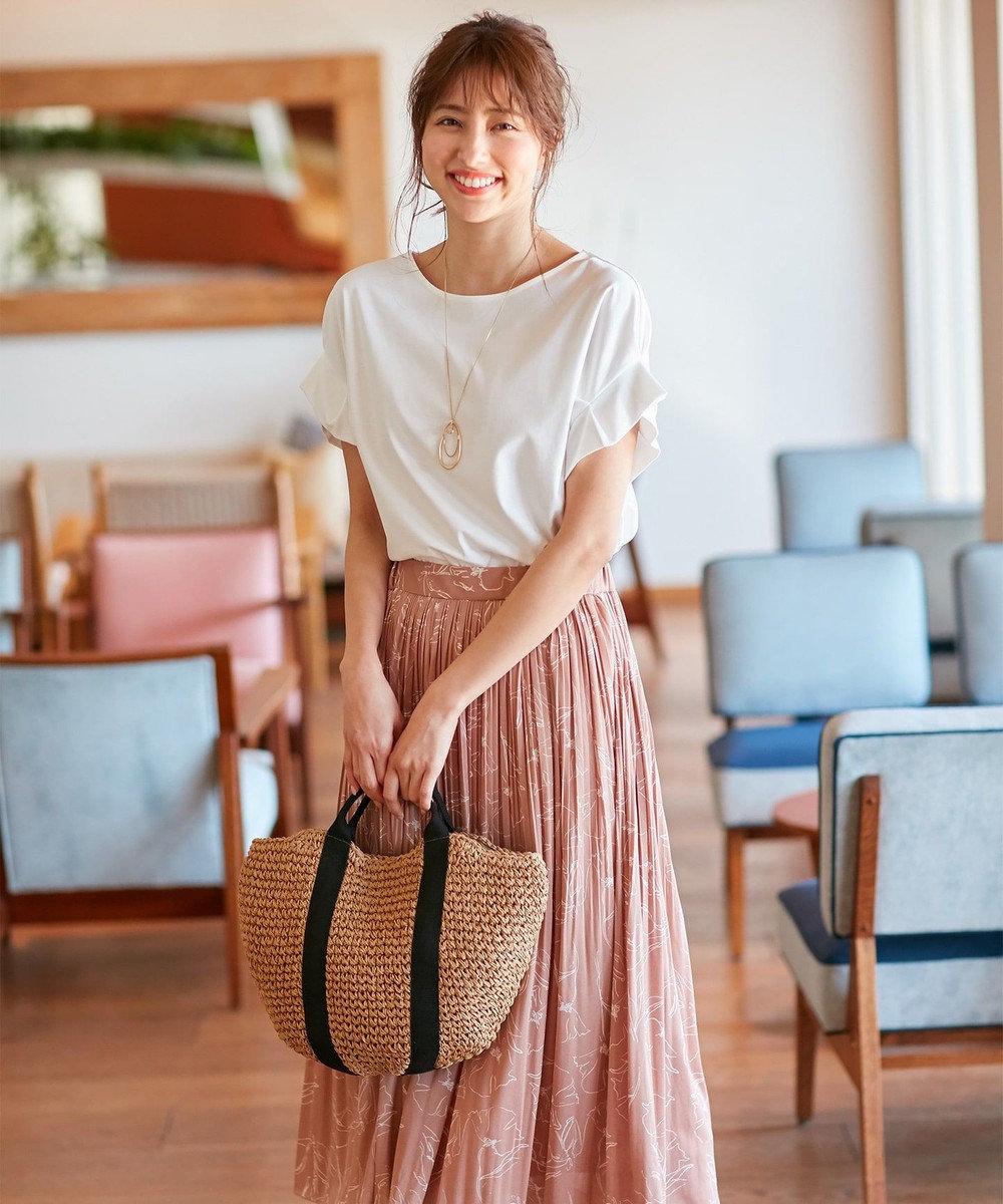 any SiS S 【おうち時間に】Rich cottonスムース タックスリーブ Tシャツ オフホワイト