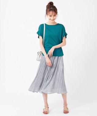any SiS S 【おうち時間に】Rich cottonスムース タックスリーブ Tシャツ ブルーグリーン