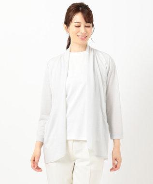 any SiS 【UVケア加工】ラメシャドーボーダー カーディガン ライトグレー