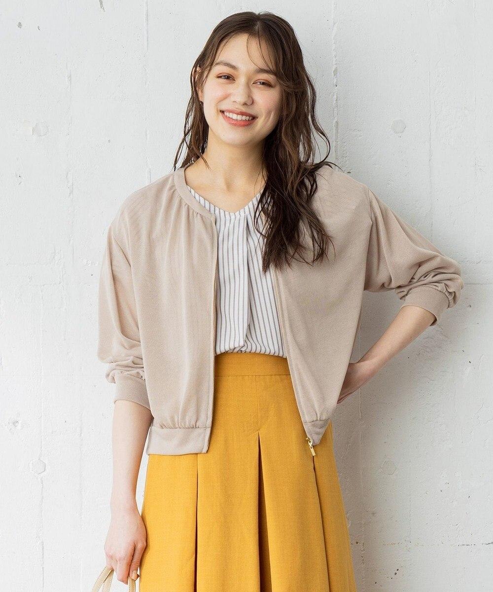 any SiS 【洗える】シアーライト ブルゾン グレージュ