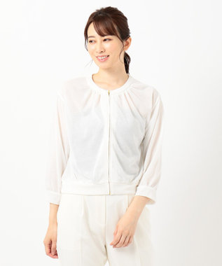 any SiS 【洗える】シアーライト ブルゾン オフホワイト