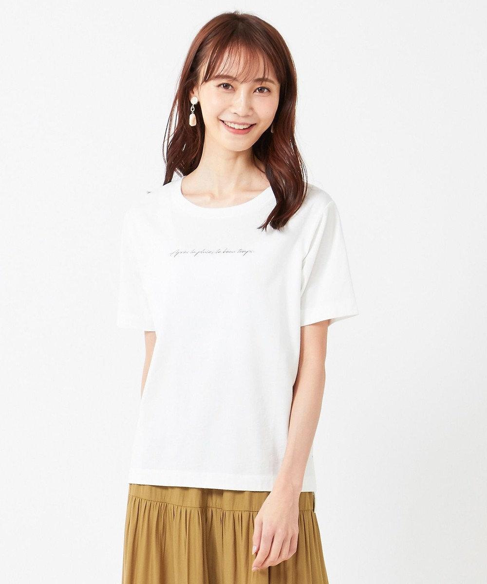 any SiS S 【美人百花6月号掲載】ロゴプリント Tシャツ オフホワイト