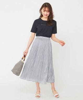 any SiS S 【美人百花6月号掲載】ロゴプリント Tシャツ ネイビー