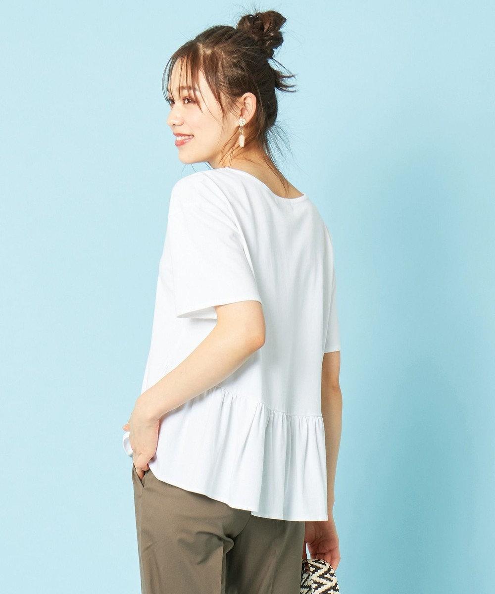 any SiS L 【汗ジミが目立ちにくい】サラコントロールジャージー  Aライン Tシャツ オフホワイト