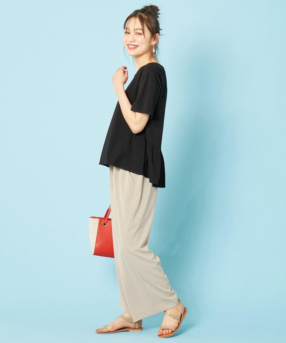 any SiS L 【汗ジミが目立ちにくい】サラコントロールジャージー  Aライン Tシャツ ブラック
