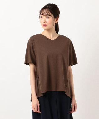 any SiS L 【汗ジミが目立ちにくい】サラコントロールジャージー  Aライン Tシャツ ブラウン