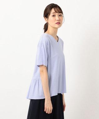 any SiS L 【汗ジミが目立ちにくい】サラコントロールジャージー  Aライン Tシャツ ライトブルー