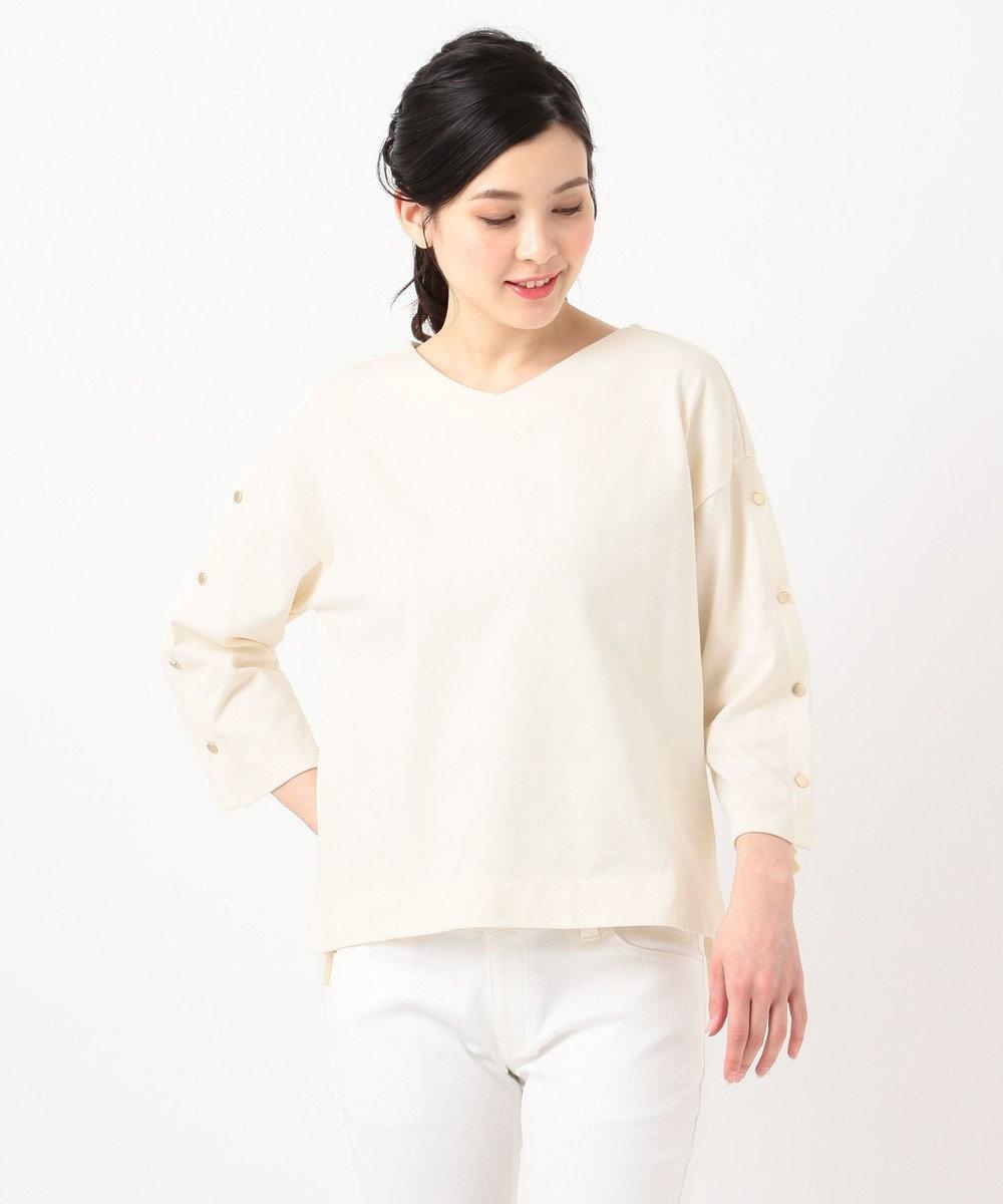 any SiS 【洗える】ボタンスリーブ カットソー アイボリー