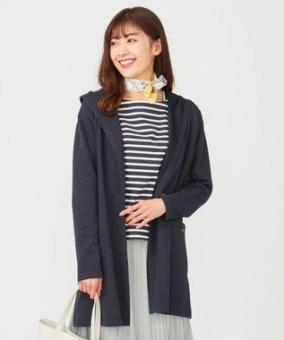 any SiS S 【洗える】フーデットロング パーカー ネイビー