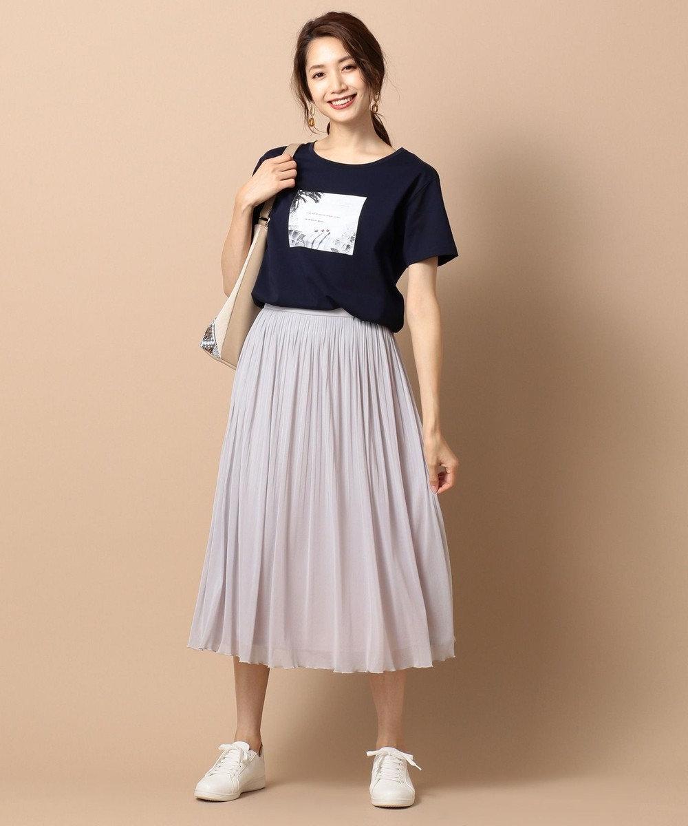 any SiS L 【UVケア&接触冷感】フォトプリント Tシャツ ネイビー系