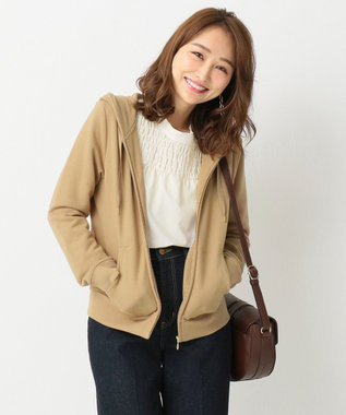 any SiS 【洗える】ロゴ刺繍裏毛 パーカー キャメル