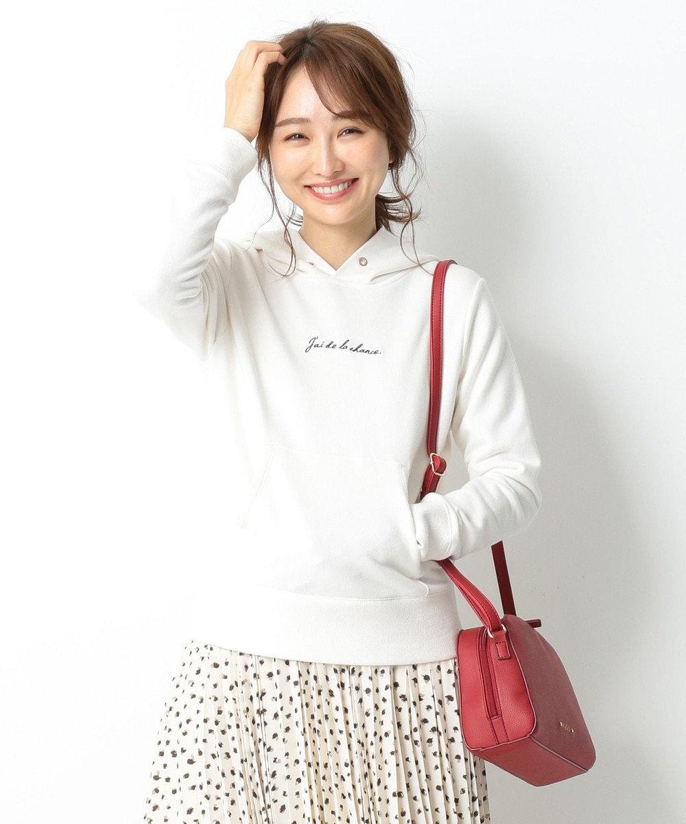 any SiS 【洗える】ロゴ刺繍 裏毛パーカー アイボリー系