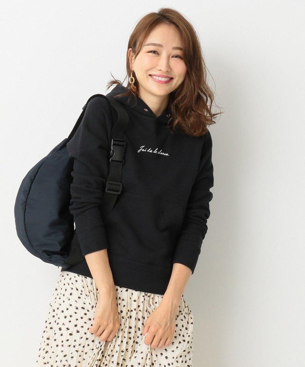 any SiS S 【洗える】ロゴ刺繍 裏毛パーカー ブラック系
