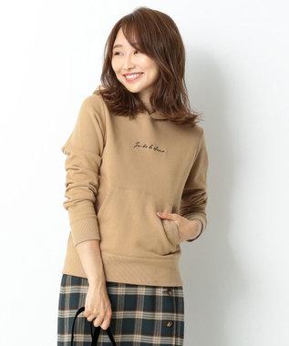 any SiS S 【洗える】ロゴ刺繍 裏毛パーカー ブラウン系